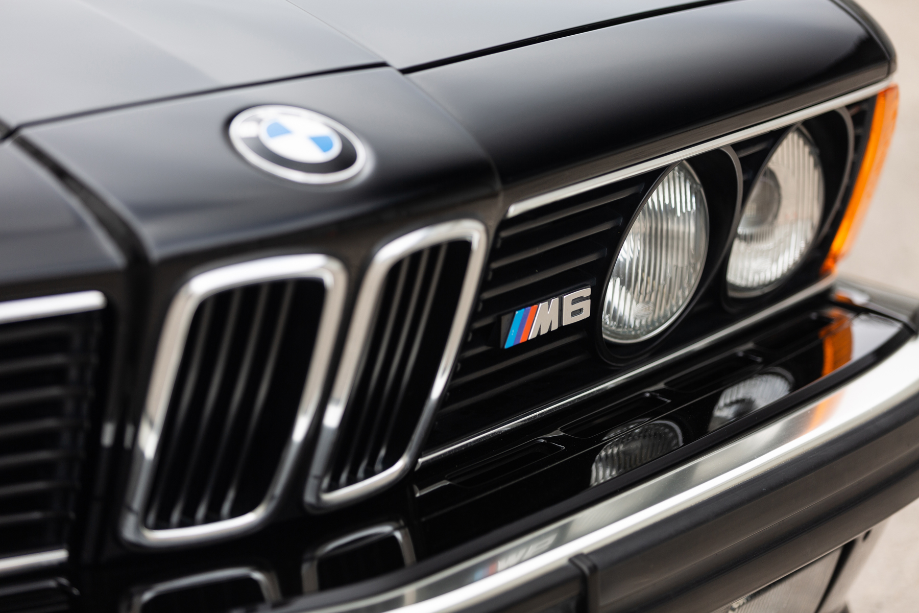 """The front area is characterized by the 4 circular lights inserted into the grille, by the double kidney grille and by the forward slanting front called """"shark nose"""""""