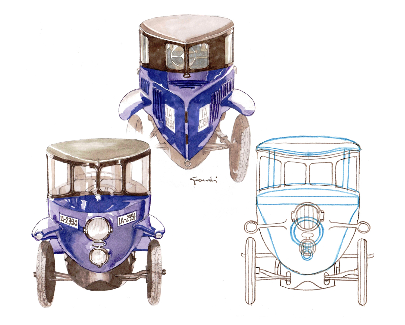 The differences between the configuration with spoked wheels (blue) and disc variants can be seen in the front and rear views and in the drawing of the closed version of the Tropfenwagen on the right