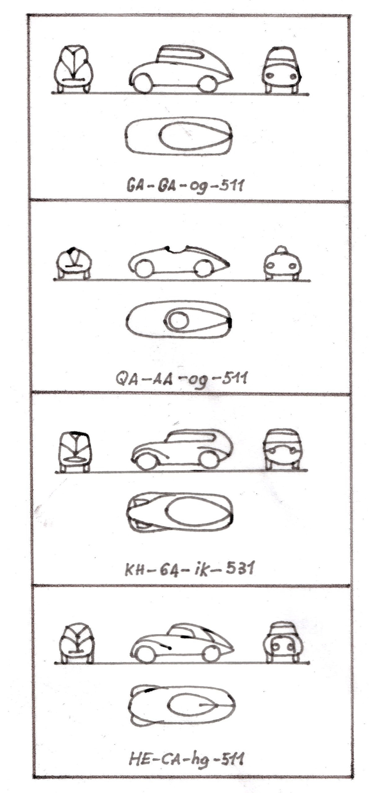 The principles of Paul Jaray's code declined for each type of car